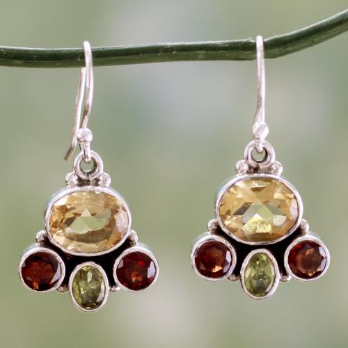 Natural Gemstones in Sterling Silver Earrings 'Harmony'