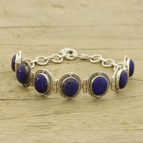 Fair Trade Lapis Lazuli Bracelet Sterling Silver Links  'Majestic Blue'