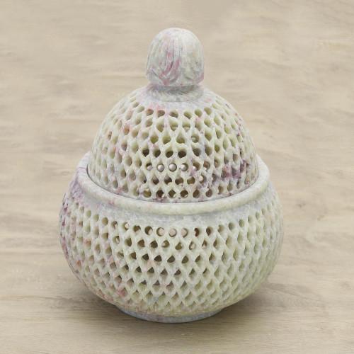 Handcrafted Jali Soapstone Beige Jar and Bottle Large 'Lattice Lace'