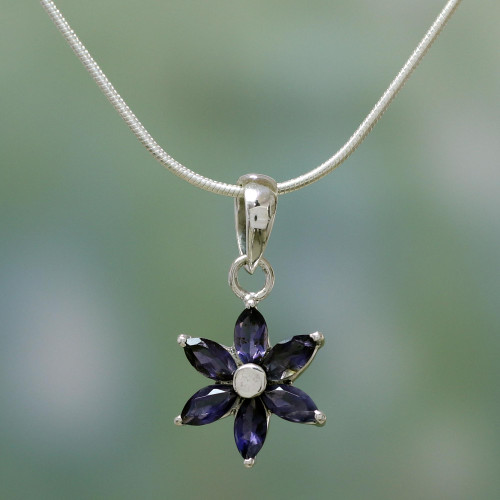 Floral Jewelry Iolite and Sterling Silver Necklace 'Ocean Daisy'