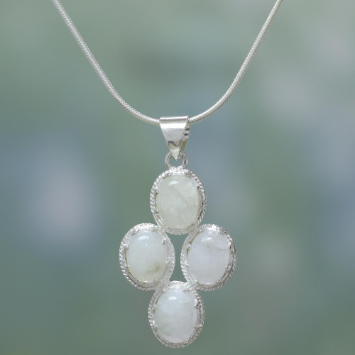 Rainbow Moonstone Necklace in Sterling Silver from India 'Morning Frost'