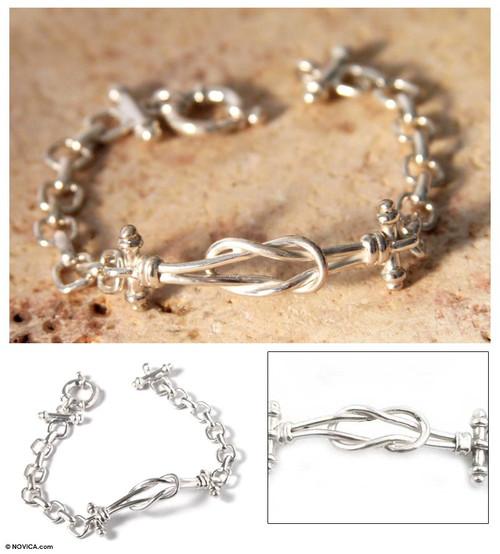Handmade Sterling Silver Link Bracelet  'Lives Entwined'