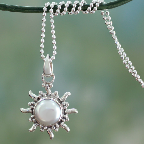 Pearl Necklace Sun and Moon Sterling Silver Pendant 'Quiet Sun'