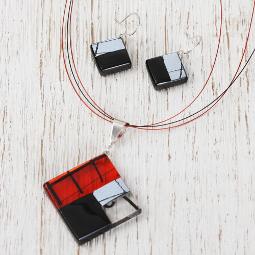 Hand Made Modern Art Glass Pendant and Earrings Jewelry Set 'Sophisticate'