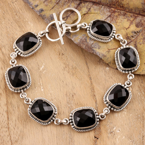 Sterling Silver and Onyx Link Bracelet 'Dark Enchantment'