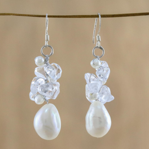 Pearl and Quartz Cluster Earrings 'Icicles'