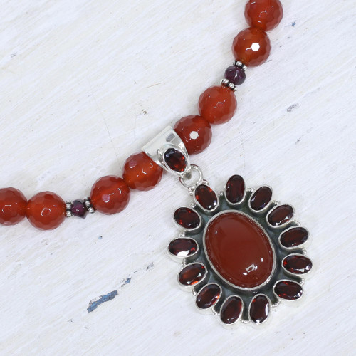 Garnet and Carnelian Necklace India Silver Jewelry 'Passionate'