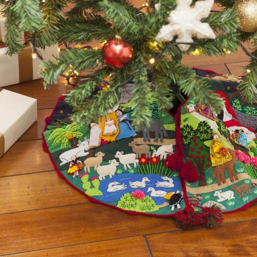Peruvian Folk Art Cotton Christmas Scene Tree Skirt 'Nativity Scene'