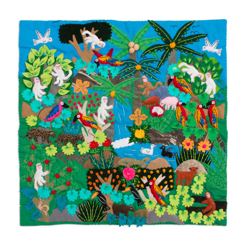 Applique Wall Hanging Folk Art Handmade in Peru 'Jungle Friends'