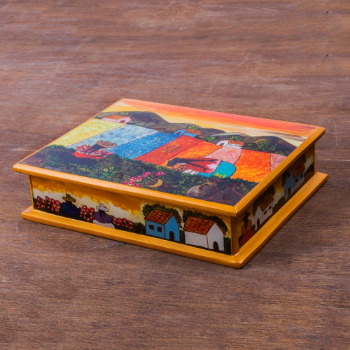 Peruvian Reverse Painted Glass Jewelry Box 'Mother and Daughter'