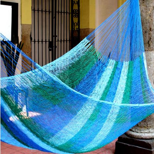 Artisan Crafted Striped Rope Hammock Single 'Sea Breeze'