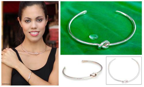 Sterling Silver Cuff Bracelet 'Love Knot'