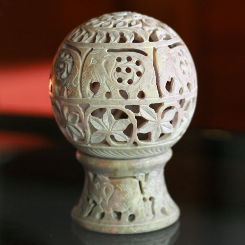 India Hand Carved Soapstone Candle Holder 'Elephant Parade'