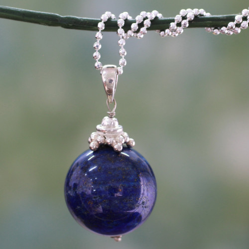 Hand Made Sterling Silver and Lapis Lazuli Necklace 'Blue Universe'