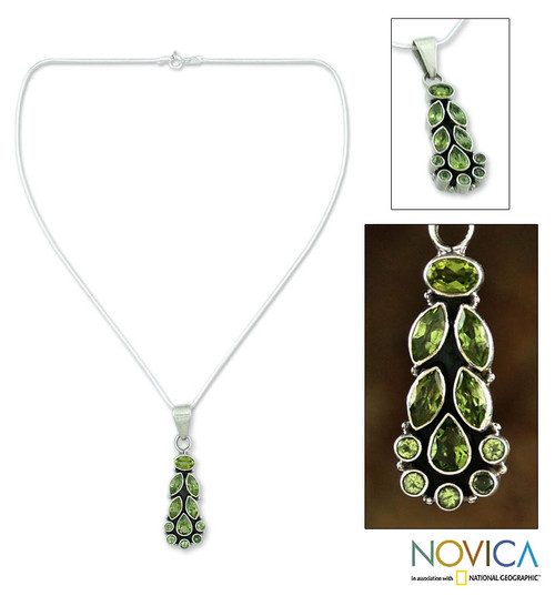 Peridot Pendant on Sterling Silver Necklace from India 'Summer Allure'