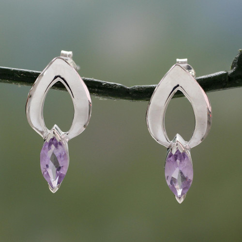 Amethyst Earrings from India Sterling Silver Jewelry 'Anticipation'
