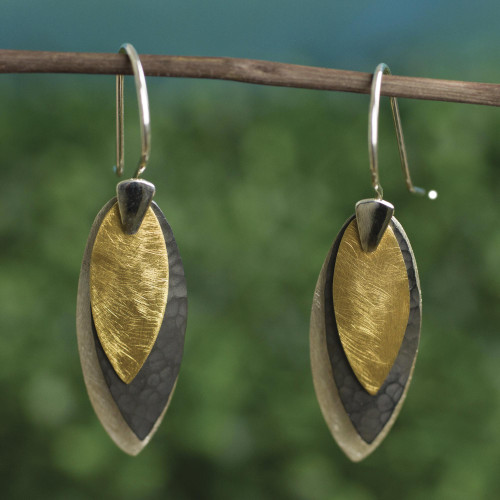 Modern Silver Earrings with 22k Gold from Mexico 'Turning Leaves'