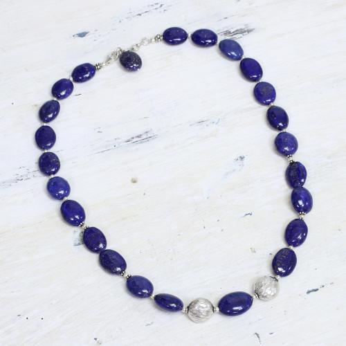 Lapis lazuli strand necklace 'Forever Love'