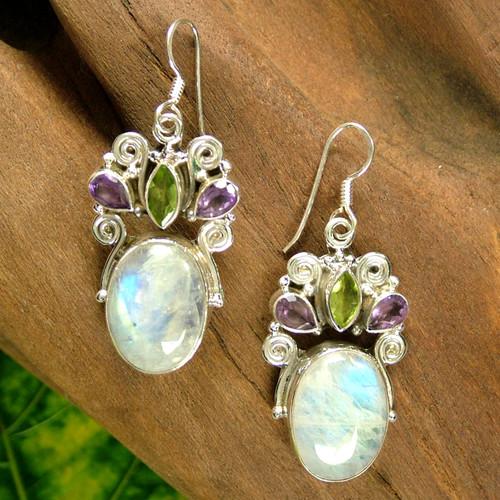 Sterling Silver Multigem Rainbow Moonstone Earrings 'Aura'
