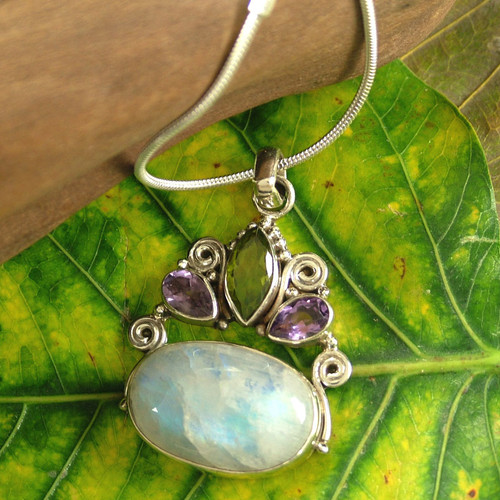 Rainbow Moonstone Necklace in Sterling Silver from India 'Aura'