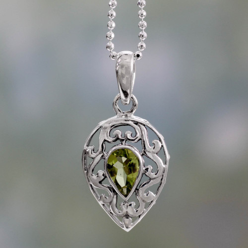 Sterling Silver with Peridot Necklace Birthstone Jewelry 'Lime Lace'