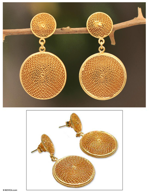21K Gold Plated Dangle Filigree Earrings 'Starlit Suns'
