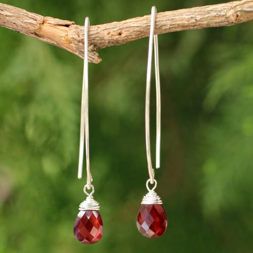 Sterling Silver and Garnet Dangle Earrings 'Sublime'
