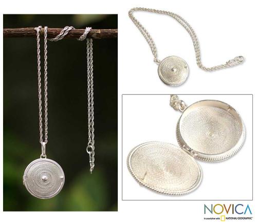 Artisan Crafted Peruvian Sterling Silver Locket Necklace 'Precious Secret'