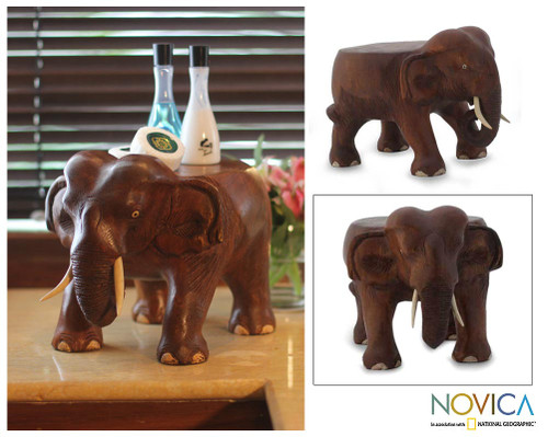 Hand Carved Wood Stand 'Thai Elephant'