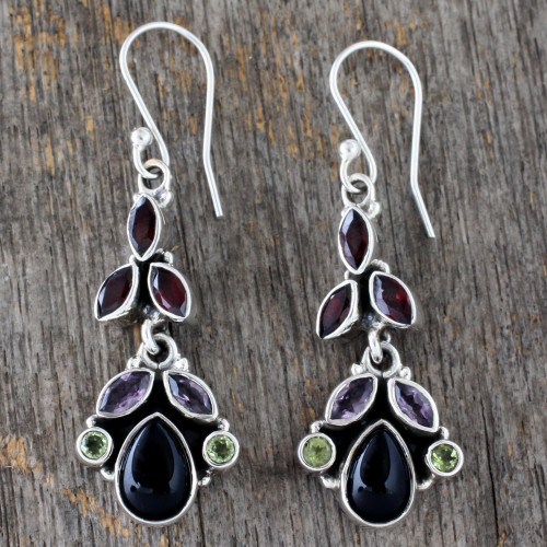 Natural Gemstone Earrings Sterling Silver Jewelry from India 'Abundance'