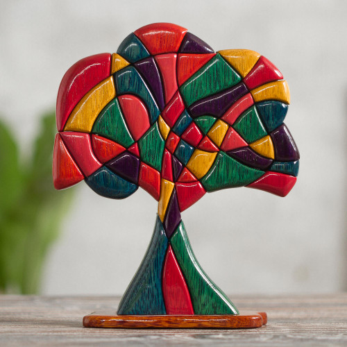 Artisan Crafted Fine Mahogany and Cedar Wood Tree Sculpture 'Tree of Life'