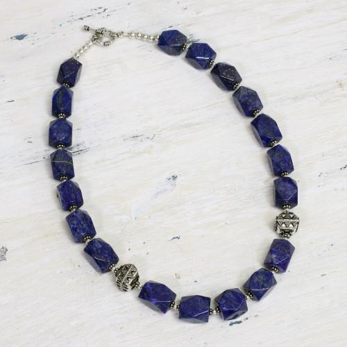 Lapis lazuli strand necklace 'Blue Goddess'