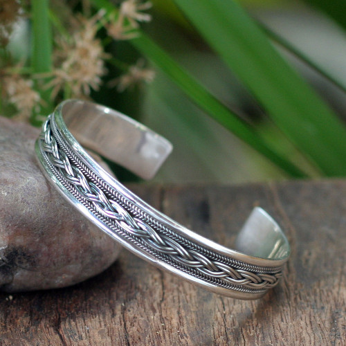 Sterling Silver Cuff Bracelet from Thailand 'Movement'