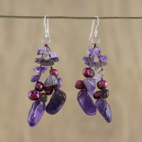 Amethyst and Pearl Dangle Earrings 'Diva'