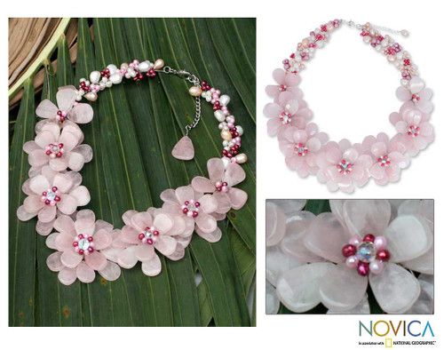 Handmade Quartz and Pearl Flower Necklace 'Rose Aurora'
