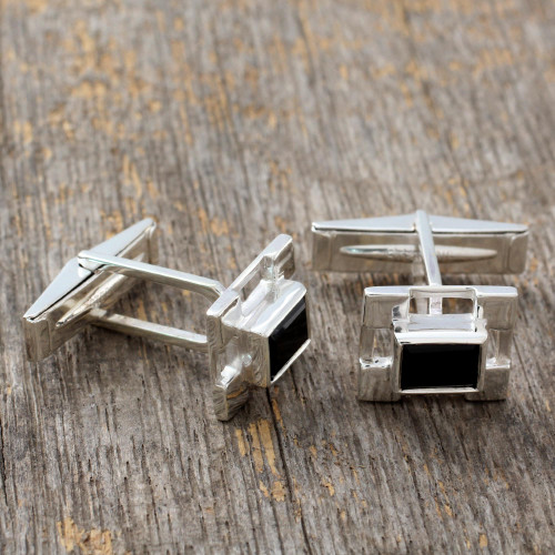 Hand Crafted Sterling Silver Onyx Cufflinks 'Art Deco'