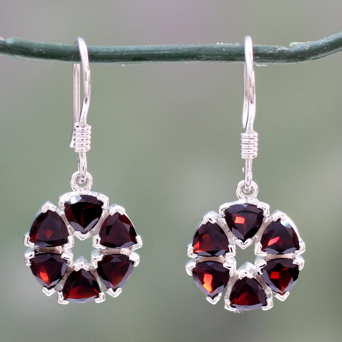 Fair Trade Floral Sterling Silver and Garnet Earrings 'Glorious'