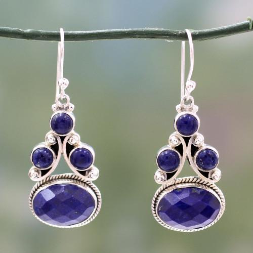 Sterling Silver Jewelry Lapis Lazuli Earrings 'Love Foretold'