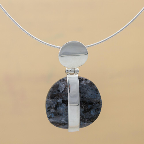 Unique Modern Marble and Silver Necklace 'Sublime'