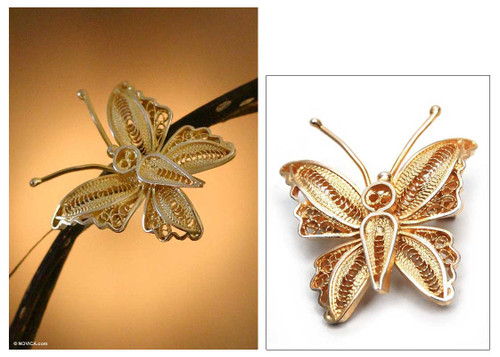 Handmade Vermeil Gold Plated Filigree Butterfly Brooch Pin 'Wings'