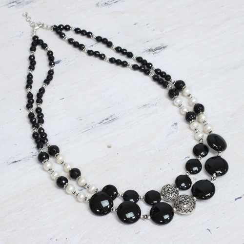 Pearl and onyx double strand necklace 'Midnight Dreams'