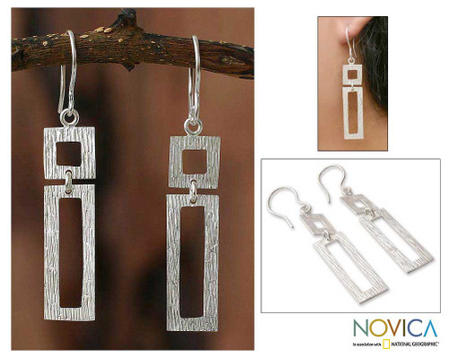 Hand Crafted Modern Sterling Silver Dangle Earrings 'Natural Geometry'