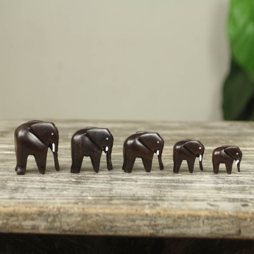 Artisan Crafted Wood Elephant Sculpture Set of 5 'Elephant Family'