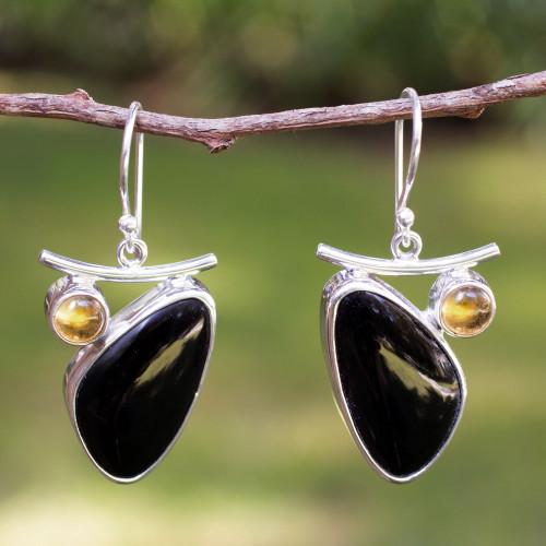Obsidian and citrine dangle earrings 'Dewdrop'