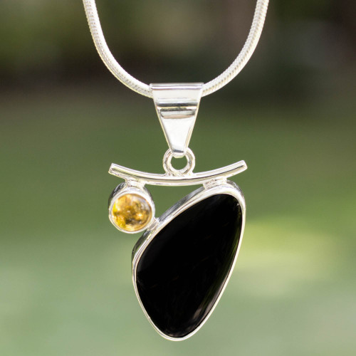 Artisan Crafted Taxco Silver Obsidian and Citrine Necklace 'Dewdrop'