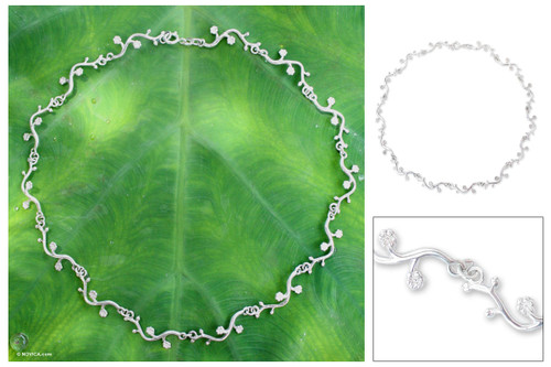 Fair Trade Floral Sterling Silver Choker Necklace 'Garland'