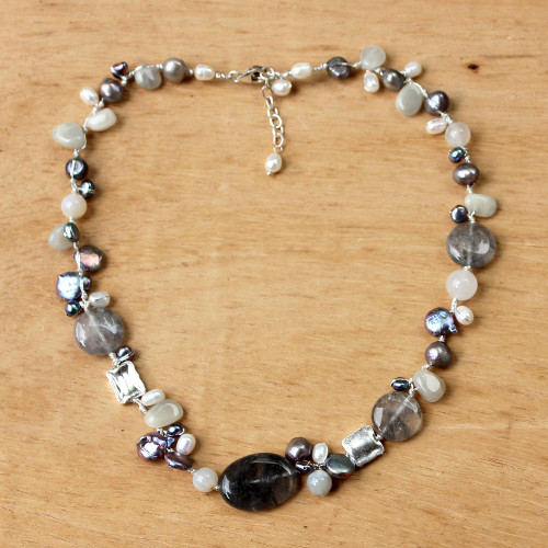Pearl and Quartz Beaded Necklace 'Midnight Sea'