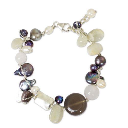 Beaded Quartz and Pearl Bracelet 'Midnight Sea'