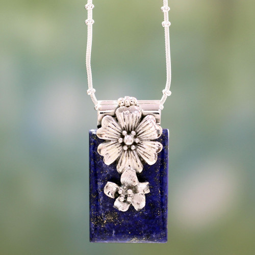 Sterling Silver and Lapis Lazuli Necklace Women's Jewelry 'Blue Lily'
