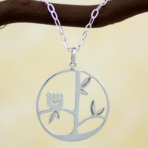 Handcrafted Sterling Silver Pendant Bird Necklace 'Circle of Life'